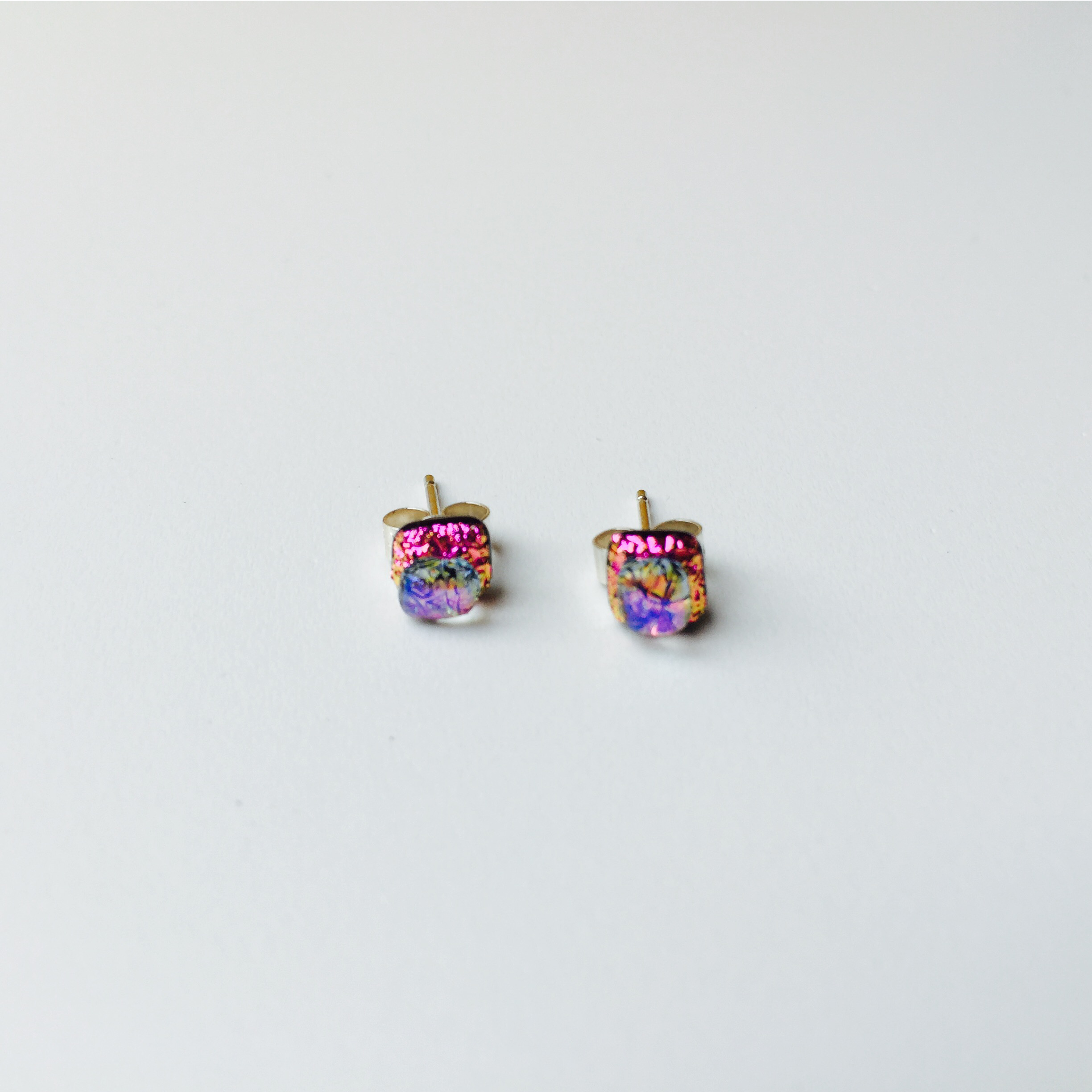 Pink And Clear Dichroic Gl Sterling Silver Stud Earrings