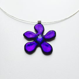 Purple dichroic glass flower and sterling silver twist choker