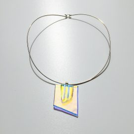 Blue/ gold dichroic glass and solid sterling silver torque necklace