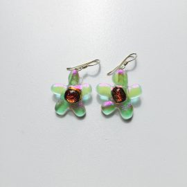 Clear and amber dichroic glass flower and sterling silver hook earrings