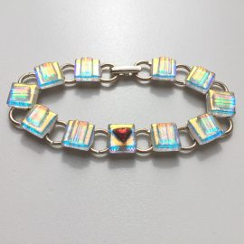Clear dichroic gold/blue glass with tiny heart detail on silver plated bracelet - 1