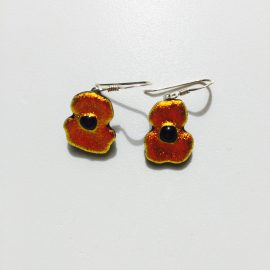 Orange/ red dichroic glass poppy and sterling silver hook earring