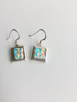 Silver square and blue ripple dichroic glass on sterling silver fixings