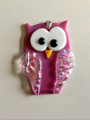 Glass owl hanging