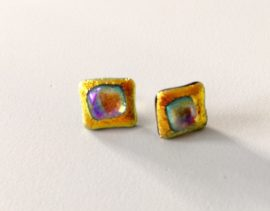 Dichroic orange rainbow studs