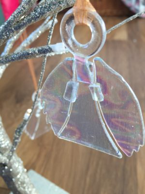 Dichroic glass angel decoration, tree or wall hanging