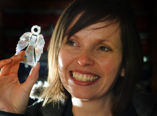 Emma and a dichroic glass angel