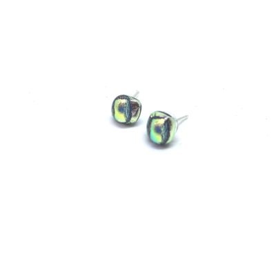 Small square silver stud with lime green detail set on sterling silver post