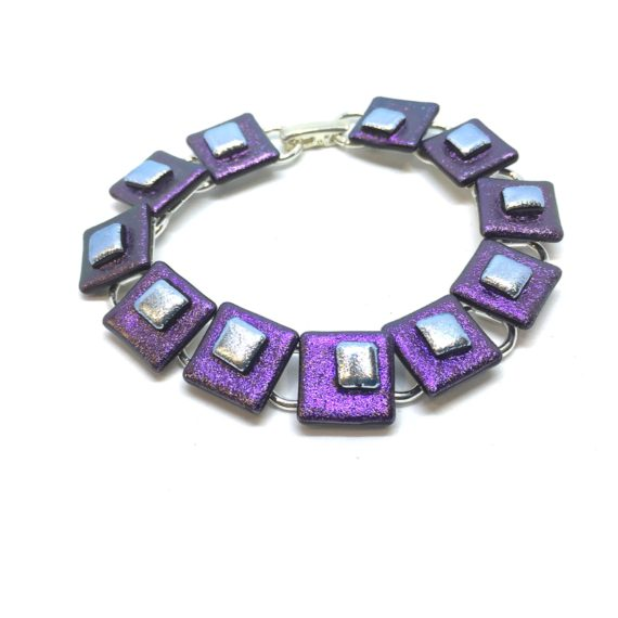 Purple Dichroic Glass link bracelet with silver dichroic detail