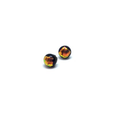 Round black glass studs with gold detial on sterling silver posts with sterling silver backs