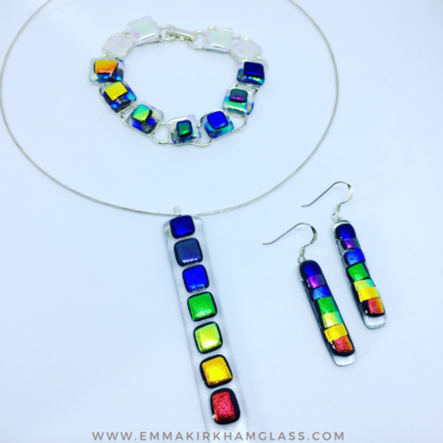 Bracelet, necklace and earrings chakra set. With Rainbow colours on fused glass/