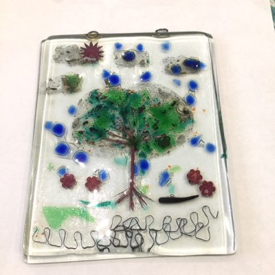 Fused glass tree from copper wire, geen and blue cgips with copper and aluminium foil detail.