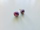 Earrings Pastel pink round glass studs with dichroic pnik glass detail