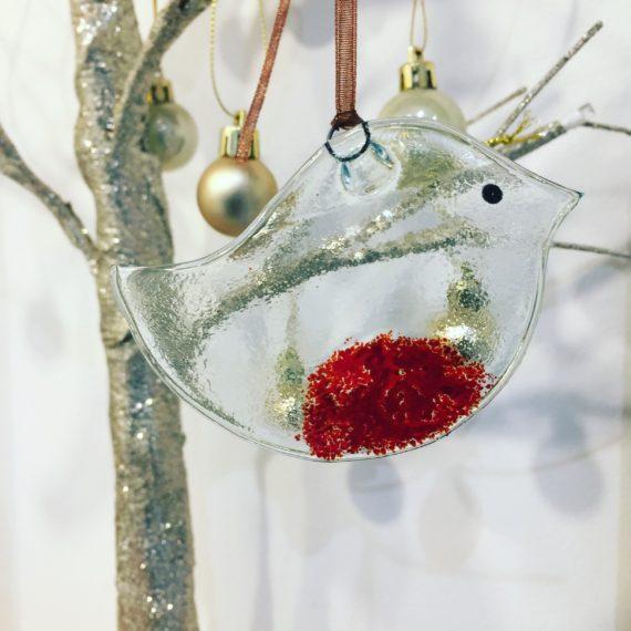 Fused glass robin Christmas tree Decoration